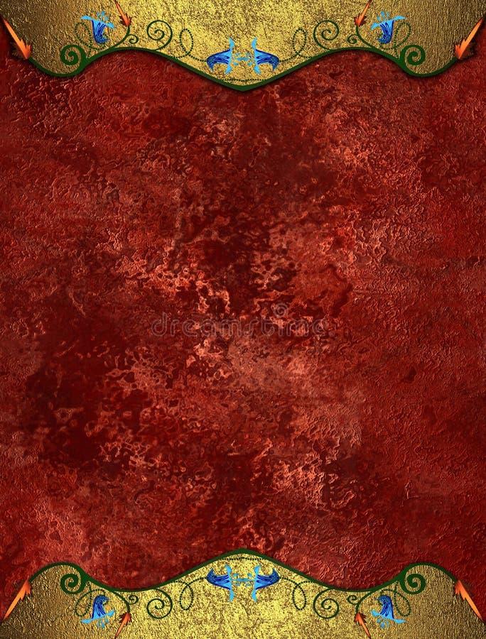 Fondo rosso di lerciume con i bordi gotici Mascherina per il disegno copi lo spazio per l'opuscolo dell'annuncio o l'invito di an royalty illustrazione gratis