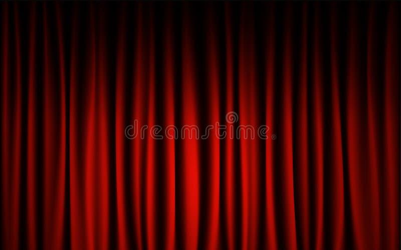 Fondo rosso di manifestazione di concerto della fase della tenda Estratto e concetto della carta da parati del fondo illustrazione di stock