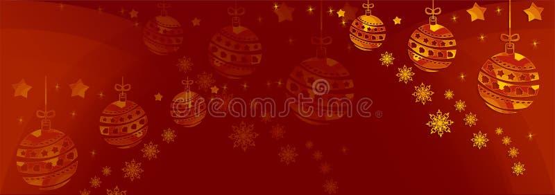 Fondo rosso di Natale con gli ornamenti dell'oro fotografia stock libera da diritti