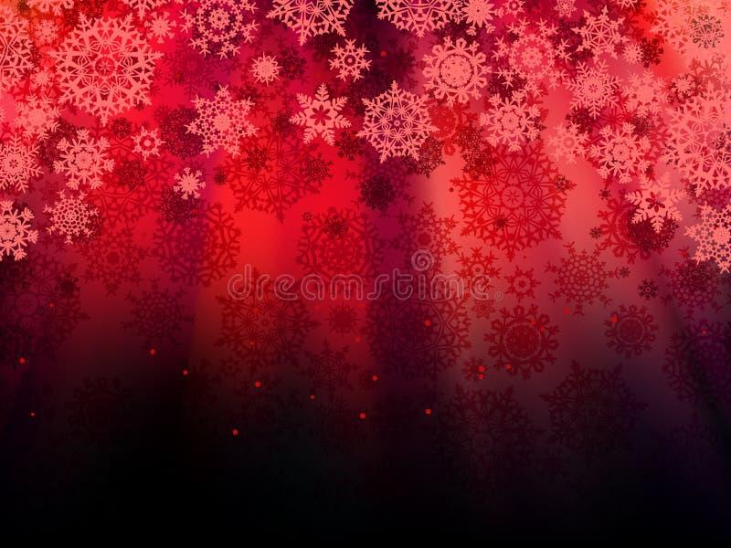 Fondo rosso di Natale con i fiocchi di neve. ENV 10 royalty illustrazione gratis
