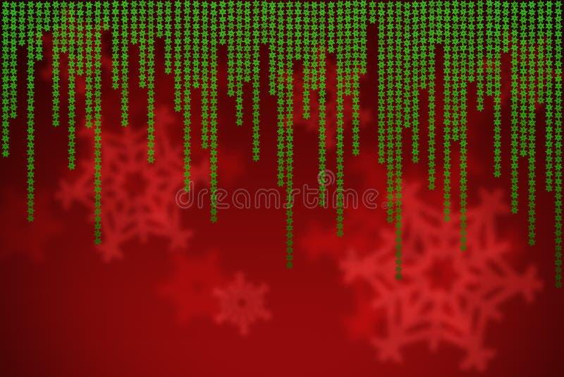 Fondo rosso di natale con i fiocchi di neve verdi di caduta royalty illustrazione gratis