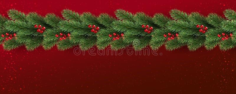 Fondo rosso di Natale con i rami di albero decorati con le bacche, luci, fiocchi di neve illustrazione di stock