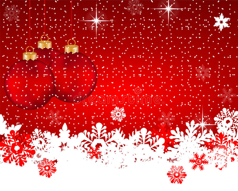 Fondo rosso di Natale con le palle ed i fiocchi di neve di Natale royalty illustrazione gratis