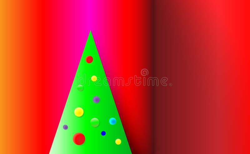 Fondo rosso di Natale di pendenza con l'albero verde ed ornamenti dalle palle dell'albero Multicolore per i nuovi anni Illustrazi royalty illustrazione gratis