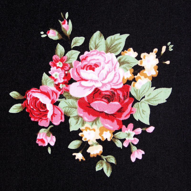 Fondo rosso di Rose Fabric, frammento di retro tappezzeria variopinta immagini stock