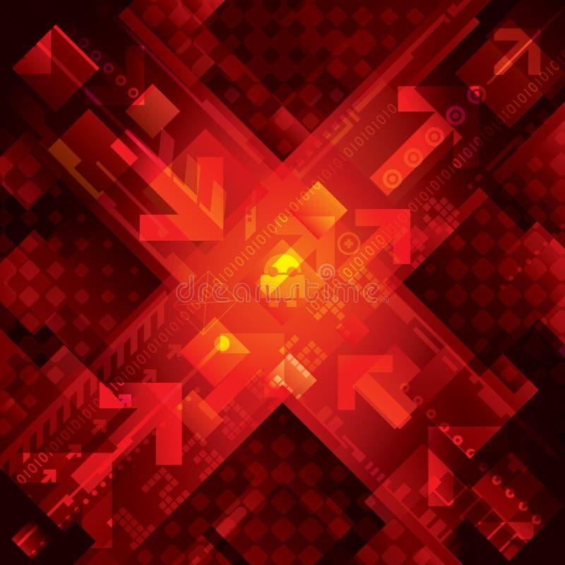 Fondo rosso di tecnologia illustrazione vettoriale