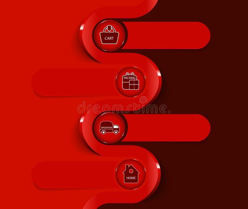 Fondo rosso di vettore con lo schema dell'acquisto illustrazione vettoriale