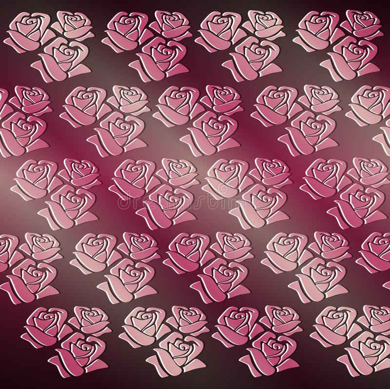 Fondo rosso scuro del modello senza cuciture delle rose illustrazione vettoriale