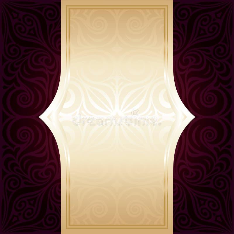 Fondo rosso scuro di progettazione della mandala dell'invito di vettore della carta da parati di Brown illustrazione vettoriale