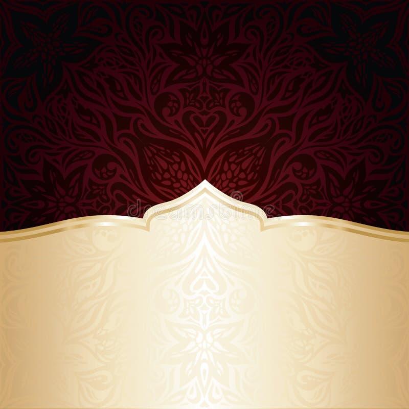 Fondo rosso scuro di progettazione della mandala dell'invito di vettore della carta da parati di Brown royalty illustrazione gratis