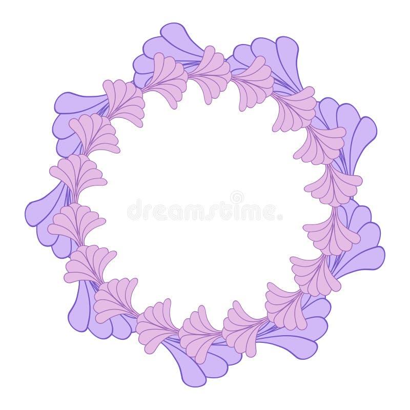 Fondo rotondo del confine della struttura del fiore in porpora ed in rosa illustrazione di stock