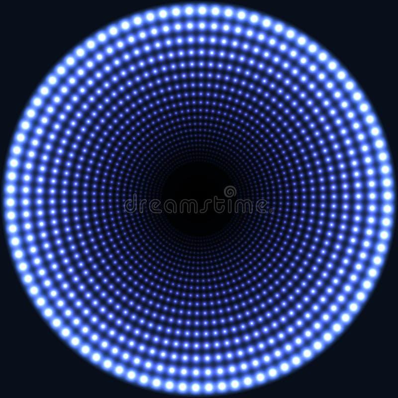 Fondo rotondo dell'estratto dello specchio del LED Luci ardenti blu che si sbiadiscono al centro illustrazione vettoriale
