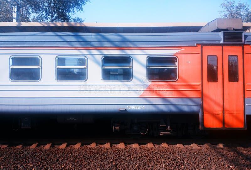 Fondo russo del trasporto del trasporto del treno immagini stock