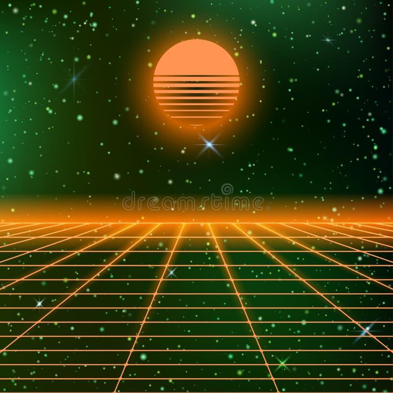 fondo 80s con las rejillas de neón ilustración del vector