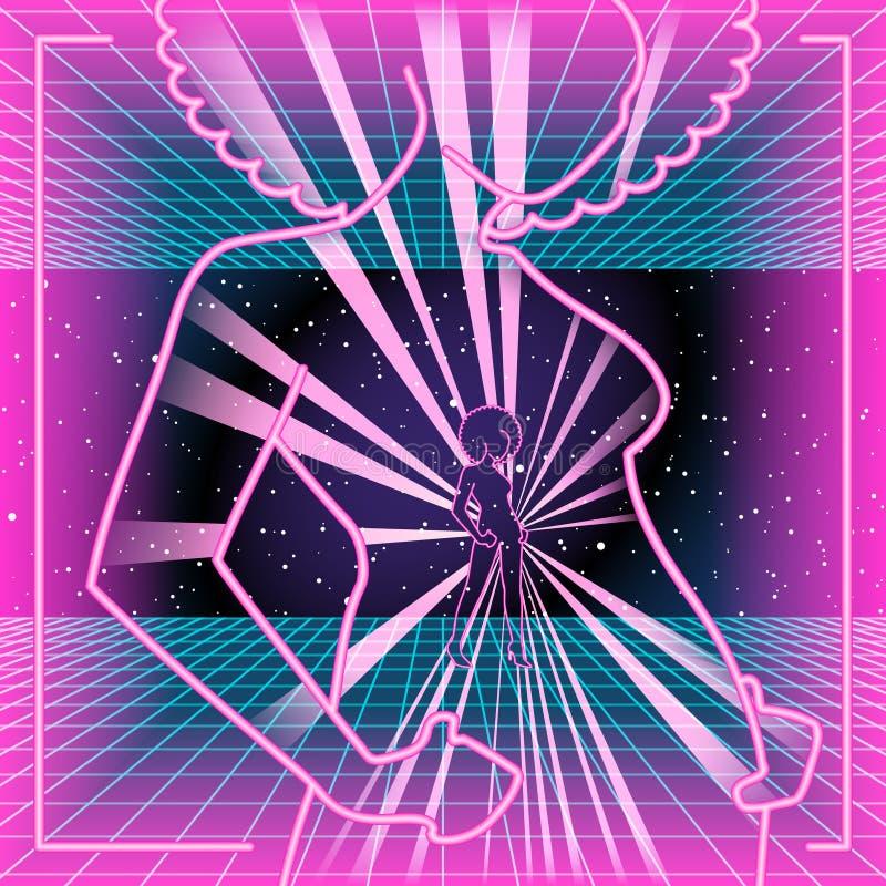 fondo 80s con un profilo al neon di una donna illustrazione di stock