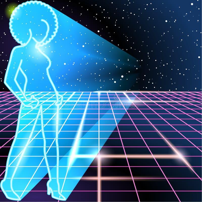 fondo 80s con un profilo al neon di una donna illustrazione vettoriale