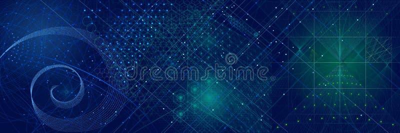 Fondo sagrado de los símbolos y de los elementos de la geometría libre illustration