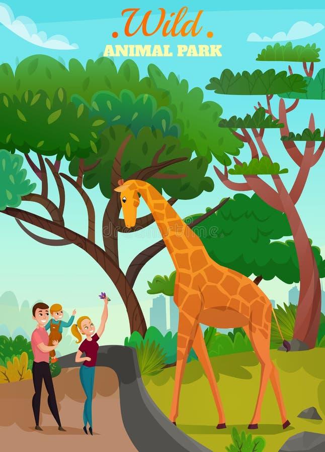 Fondo salvaje del parque animal ilustración del vector