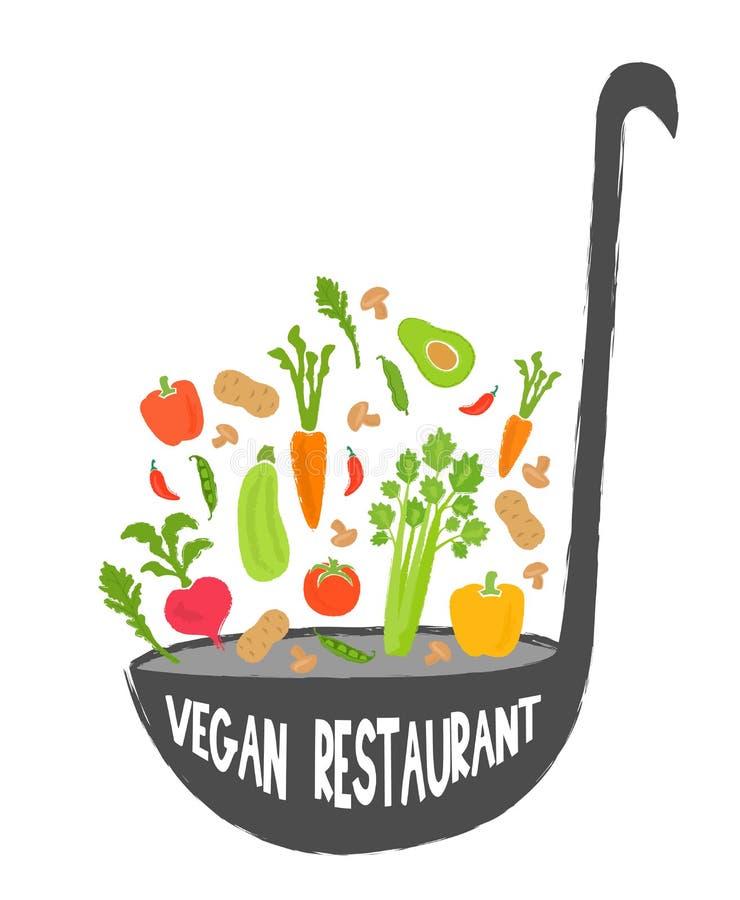 Fondo sano de la comida del restaurante del vegano, trama stock de ilustración