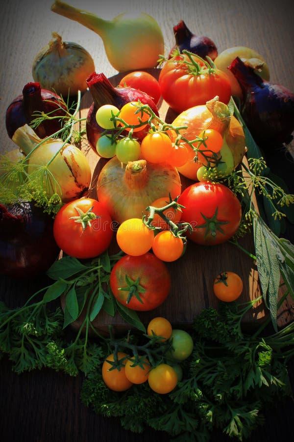 Fondo sano de los ingredientes alimentarios Verduras, hierbas y especias fotografía de archivo libre de regalías