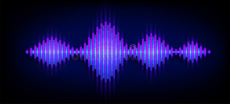 Fondo sano del vector de la onda de ne?n Diseño de soundwave de la música, elementos ligeros azules aislados en el contexto oscur ilustración del vector
