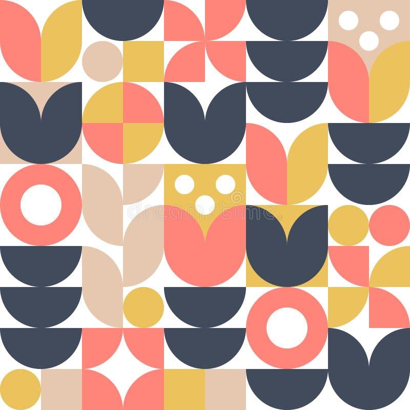 Fondo scandinavo astratto del fiore Illustrazione geometrica moderna nel retro stile nordico illustrazione vettoriale