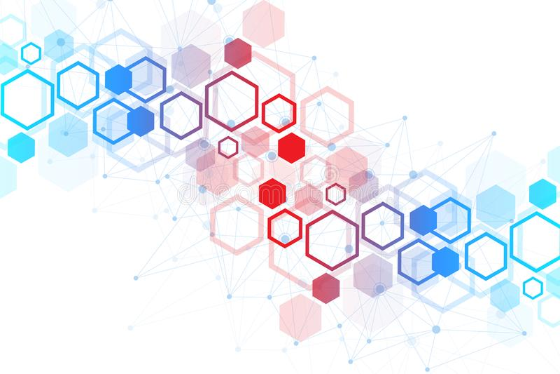 Fondo scientifico della molecola per medicina, scienza, tecnologia, chimica Carta da parati o insegna con le molecole di un DNA illustrazione vettoriale