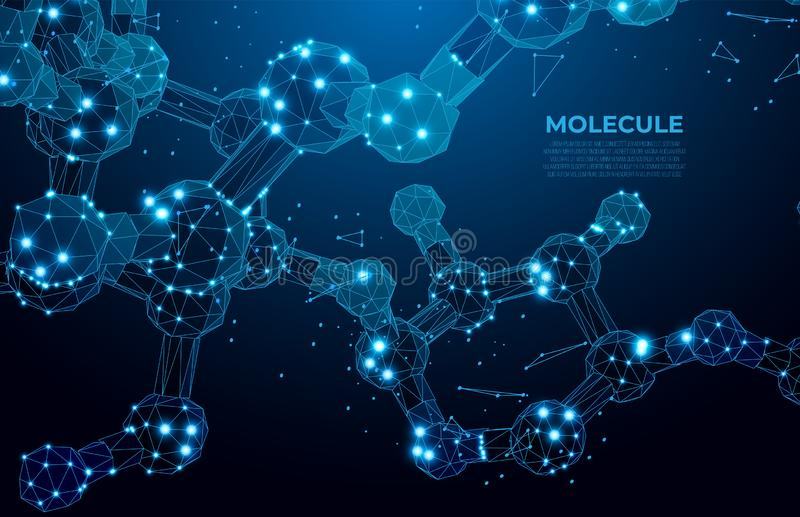 Fondo scientifico della molecola per medicina, scienza, tecnologia, chimica DNA digitale, sequenza, codice Tecnologia nana illustrazione vettoriale