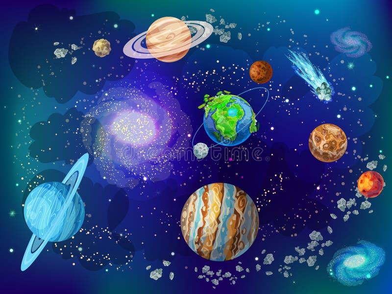 Fondo scientifico dello spazio del fumetto illustrazione di stock