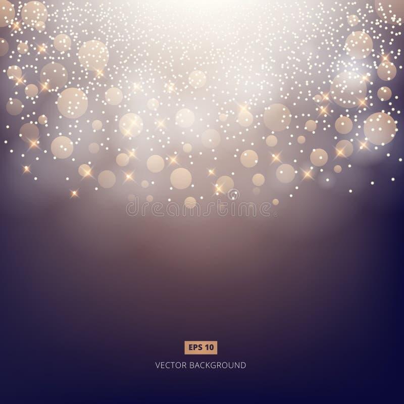 Fondo scuro brillante elegante astratto con bokeh, luci e illustrazione di stock