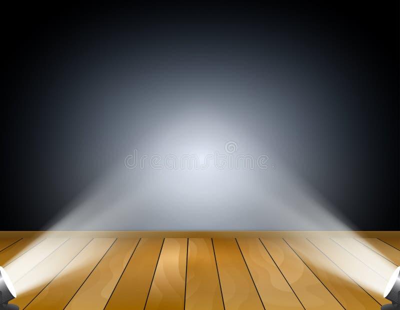 Fondo scuro con i riflettori o le lampade di proiezione. Studio con il pavimento di legno illustrazione di stock