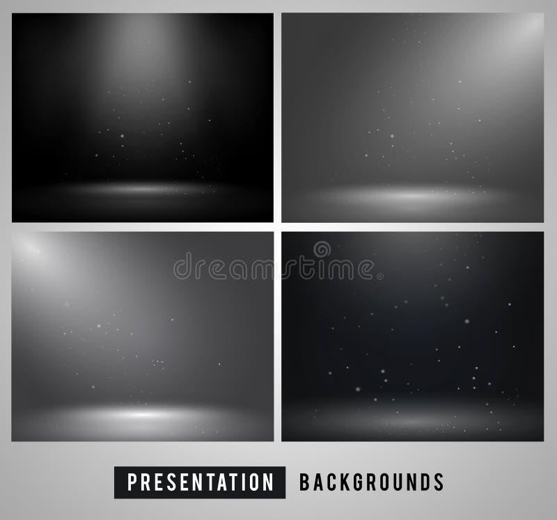 Fondo scuro minimo per la presentazione del prodotto con differenti luci di angolo illustrazione di stock