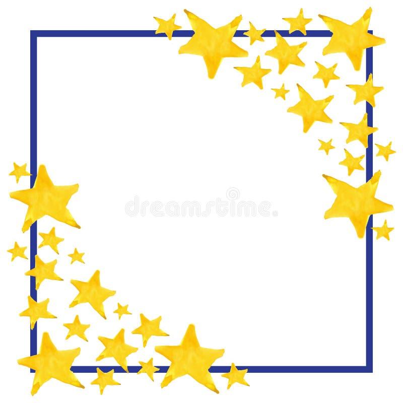 Fondo señalado de la plantilla del marco del símbolo de la estrella de la acuarela cinco ilustración del vector