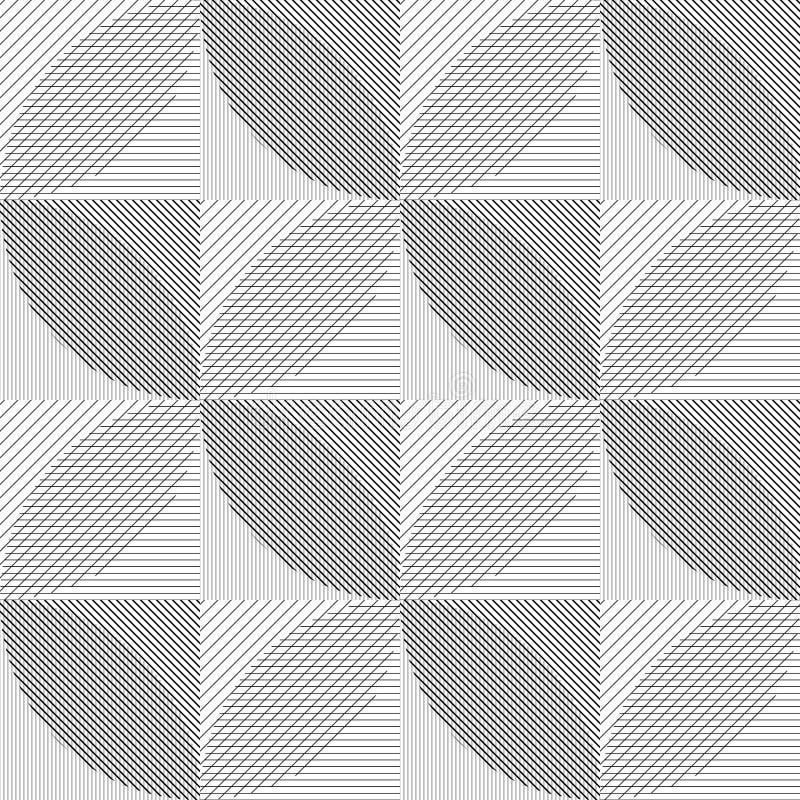 Fondo senza cuciture astratto con un modello delle linee e dei cerchi Modello di vettore dalle forme geometriche illustrazione di stock
