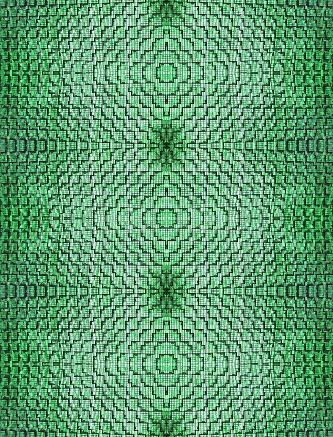 Fondo senza cuciture astratto dei mattoni risieduti in una forma interessante in simile collegato di colore verde simmetricamente fotografie stock