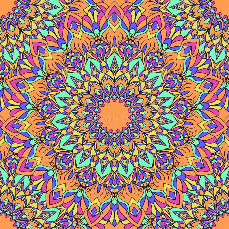 Fondo senza cuciture astratto floreale ornamentale mescolato luminoso del a mano disegno con molti dettagli per progettazione del royalty illustrazione gratis