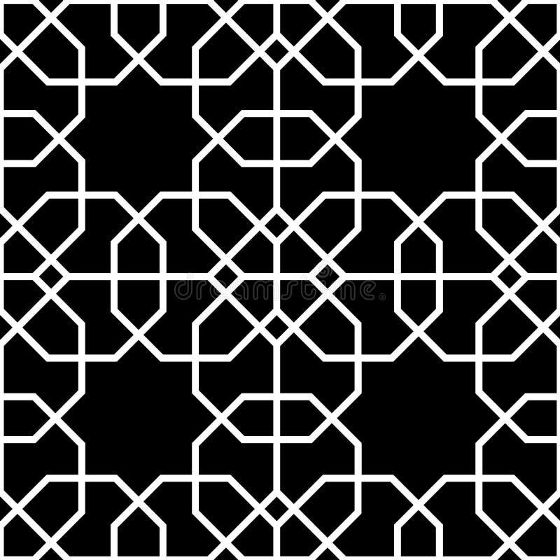 Fondo senza cuciture in bianco e nero, modello islamico illustrazione vettoriale