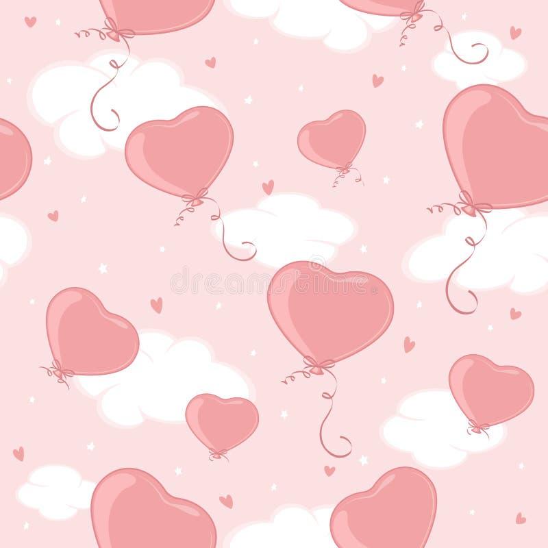Fondo senza cuciture con i cuori dei biglietti di S. Valentino sul cielo rosa illustrazione vettoriale