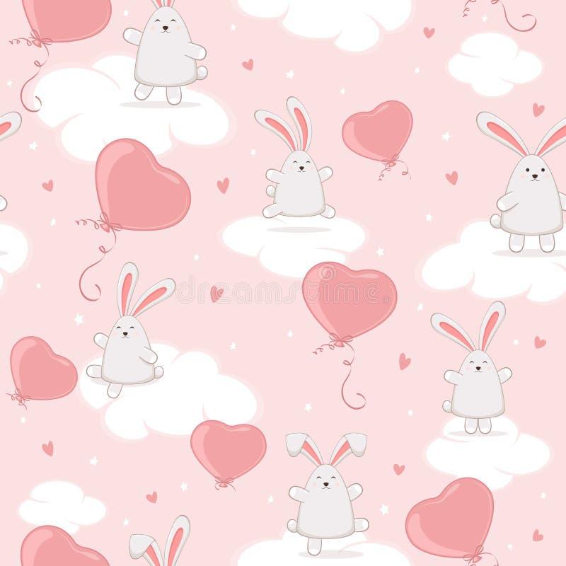 Fondo senza cuciture con i cuori dei conigli e dei biglietti di S. Valentino di Pasqua sul cielo rosa royalty illustrazione gratis