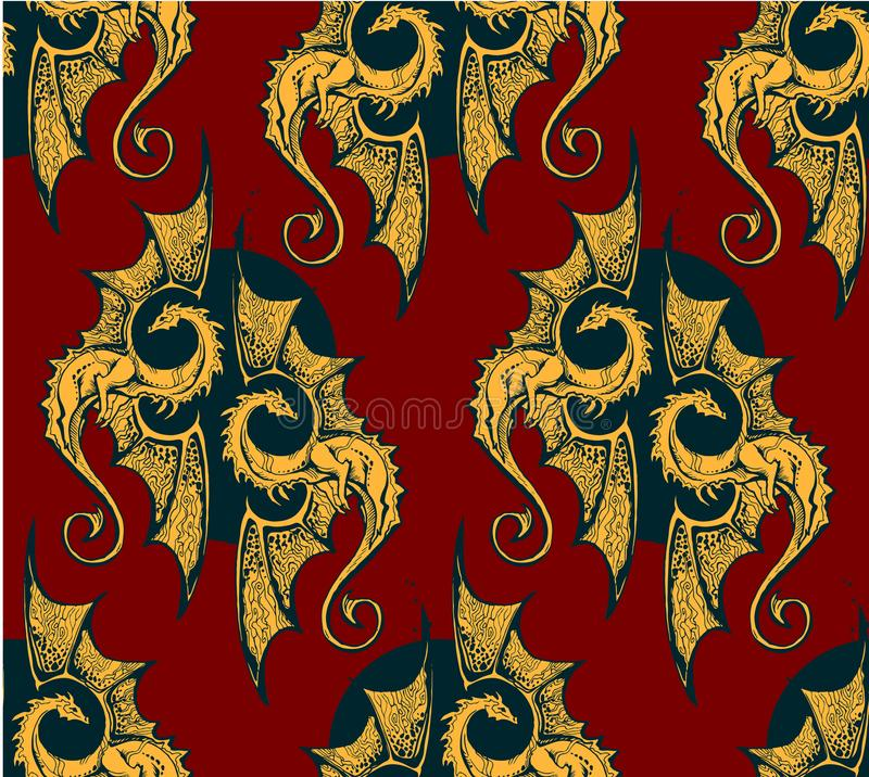 Fondo senza cuciture con i draghi dell'oro per la saga eroica o i epos cavallereschi royalty illustrazione gratis