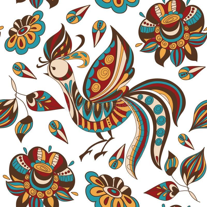 Fondo senza cuciture con i fiori e gli uccelli astratti luminosi Illustrazione di vettore illustrazione vettoriale