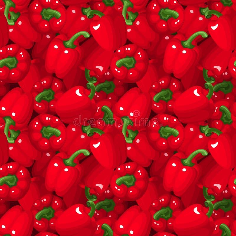 Fondo senza cuciture con i peperoni dolci rossi. illustrazione di stock