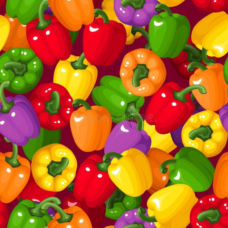 Fondo senza cuciture con i peperoni dolci variopinti. illustrazione vettoriale