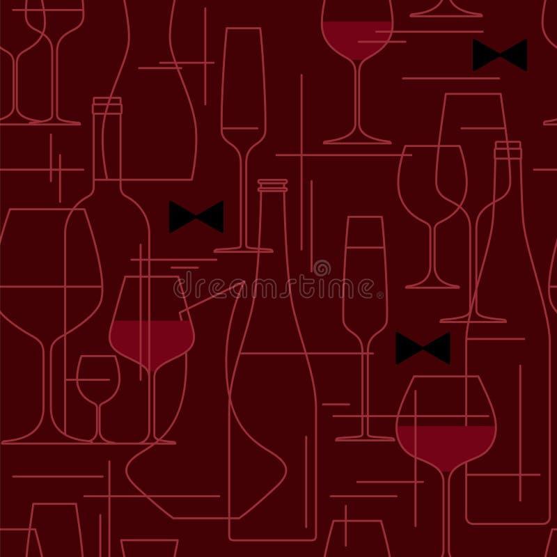 Fondo senza cuciture con i vetri e le bottiglie di vino illustrazione di stock