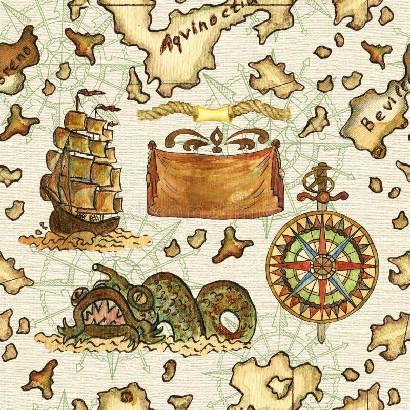 Fondo senza cuciture con la mappa del pirata dell'isola del tesoro illustrazione di stock