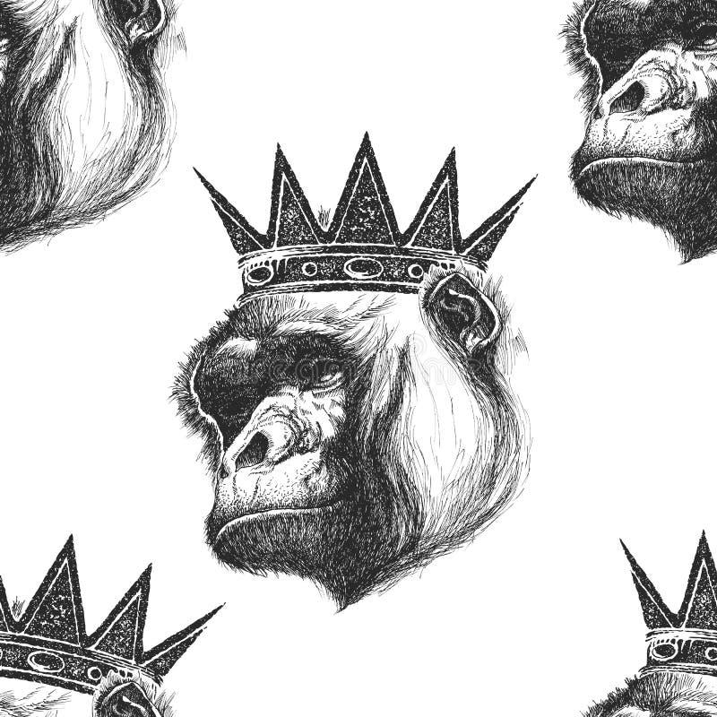 Fondo senza cuciture con la testa della gorilla royalty illustrazione gratis