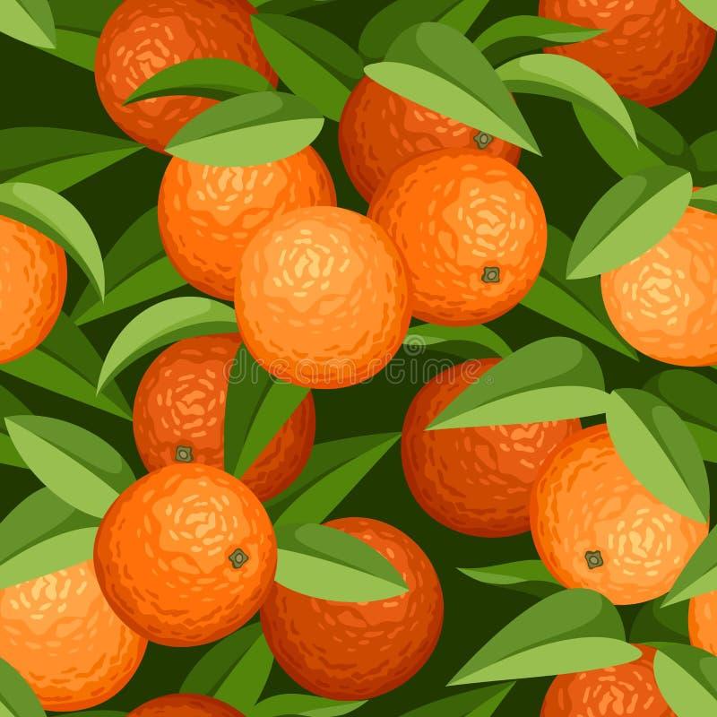 Fondo senza cuciture con le arance e le foglie. illustrazione vettoriale