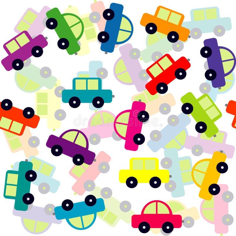 Fondo senza cuciture con le automobili colorate del giocattolo illustrazione vettoriale