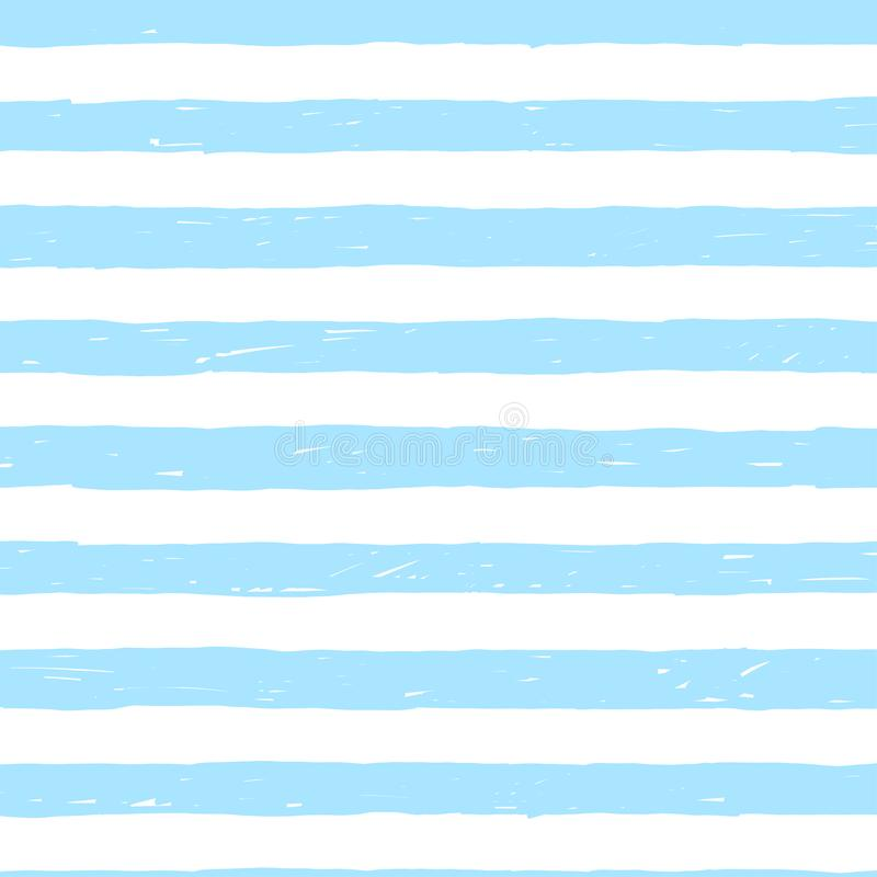 Fondo senza cuciture con le bande irregolari disegnate a mano del marinaio Fondo a strisce blu e bianco Tema nautico illustrazione di stock