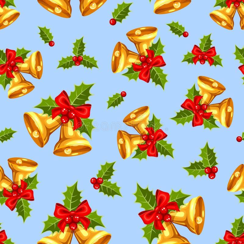 Fondo senza cuciture con le campane di Natale dell'oro sul blu Illustrazione di vettore illustrazione vettoriale